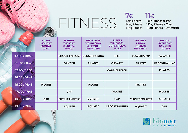 Horarios clases Fitness Biomar Spa Medical